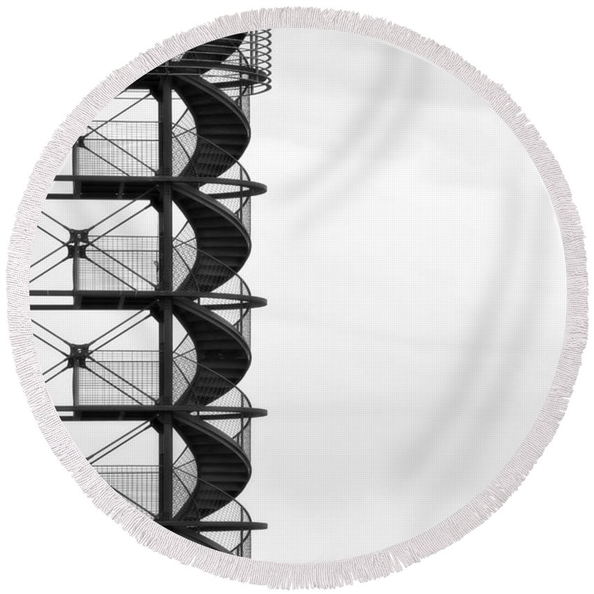 Stairs Round Beach Towel featuring the photograph Look Out by Joana Kruse