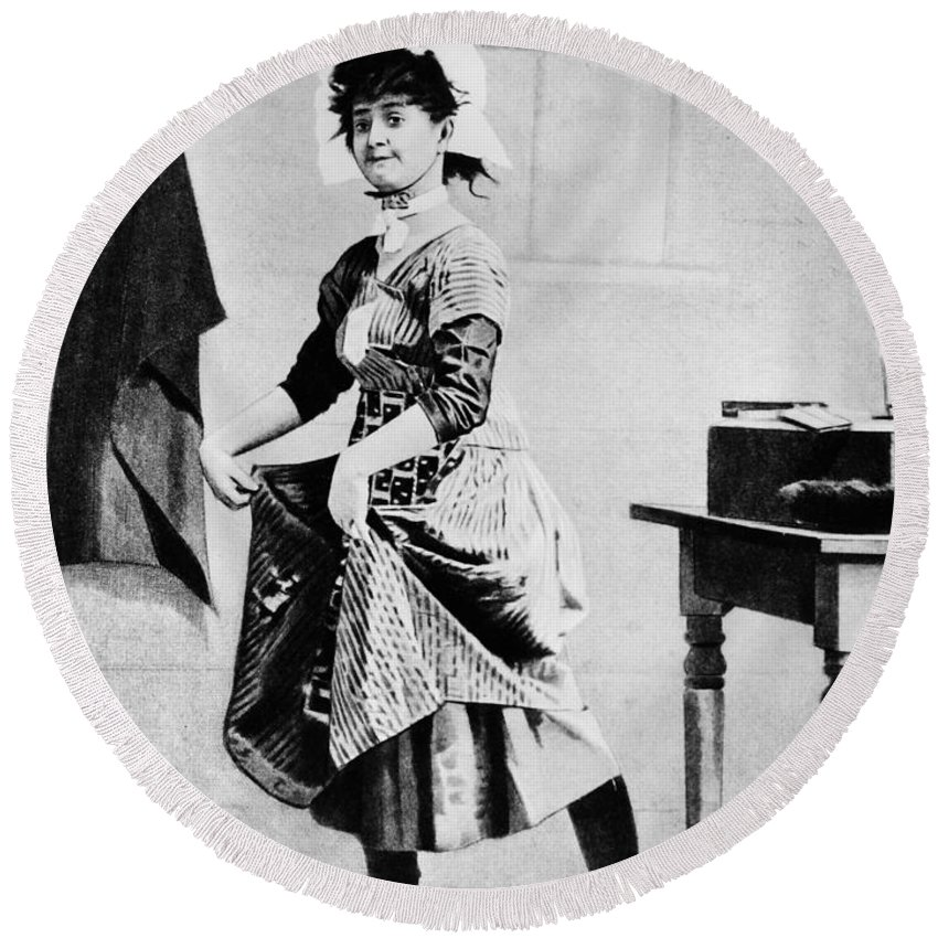 1888 Round Beach Towel featuring the photograph Lotta Crabtree (1847-1924) by Granger
