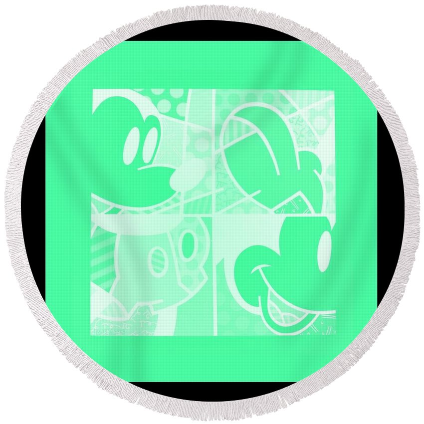 Mickey Mouse Round Beach Towel featuring the photograph Mickey In Negative Light Green by Rob Hans