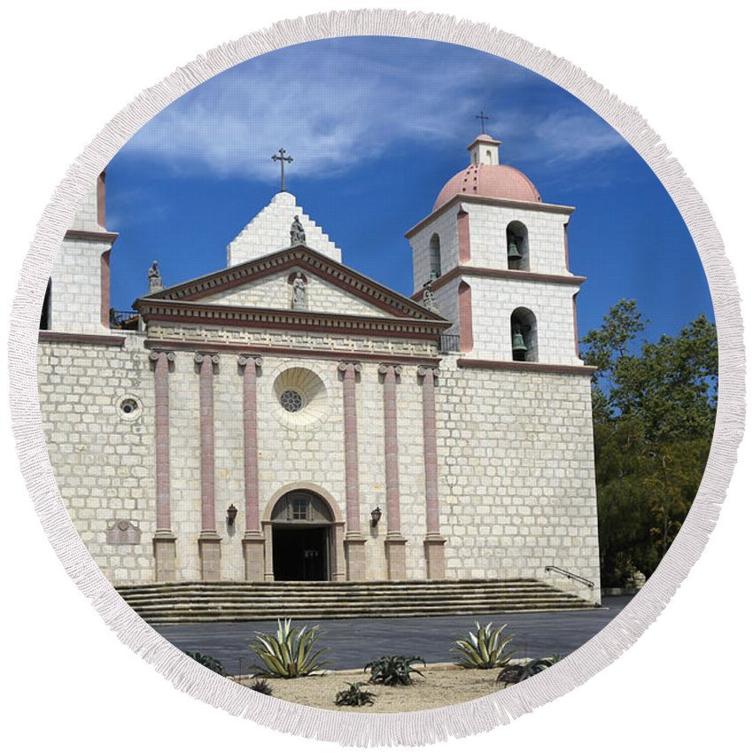 California Round Beach Towel featuring the photograph Mission Santa Barbara by Michele Burgess