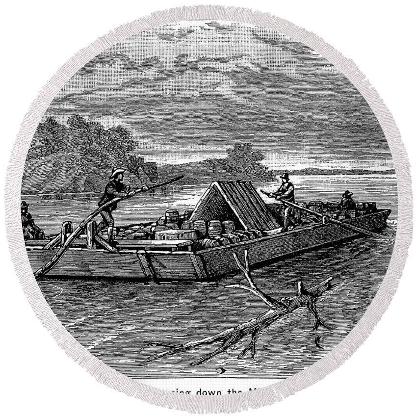 19th Century Round Beach Towel featuring the photograph Mississippi: Flatboat by Granger