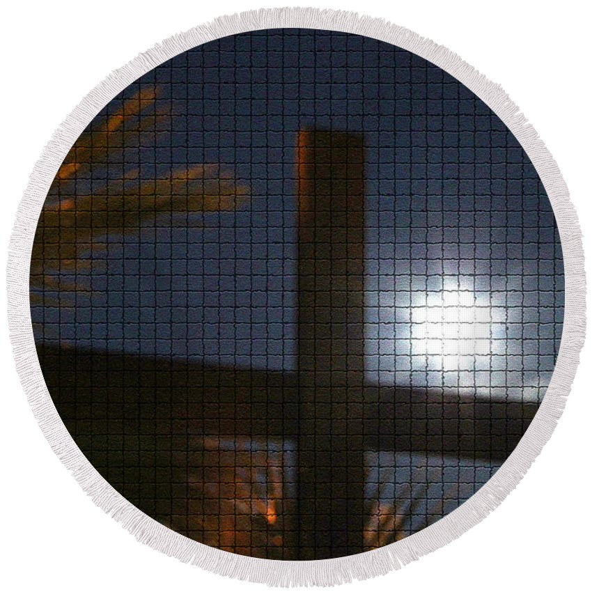 Original Round Beach Towel featuring the photograph Moon Rising One by Carl Deaville