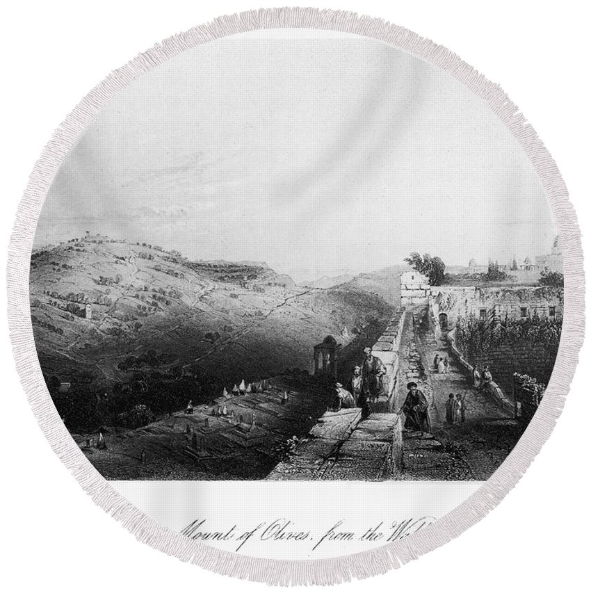 1843 Round Beach Towel featuring the photograph Mount Of Olives by Granger