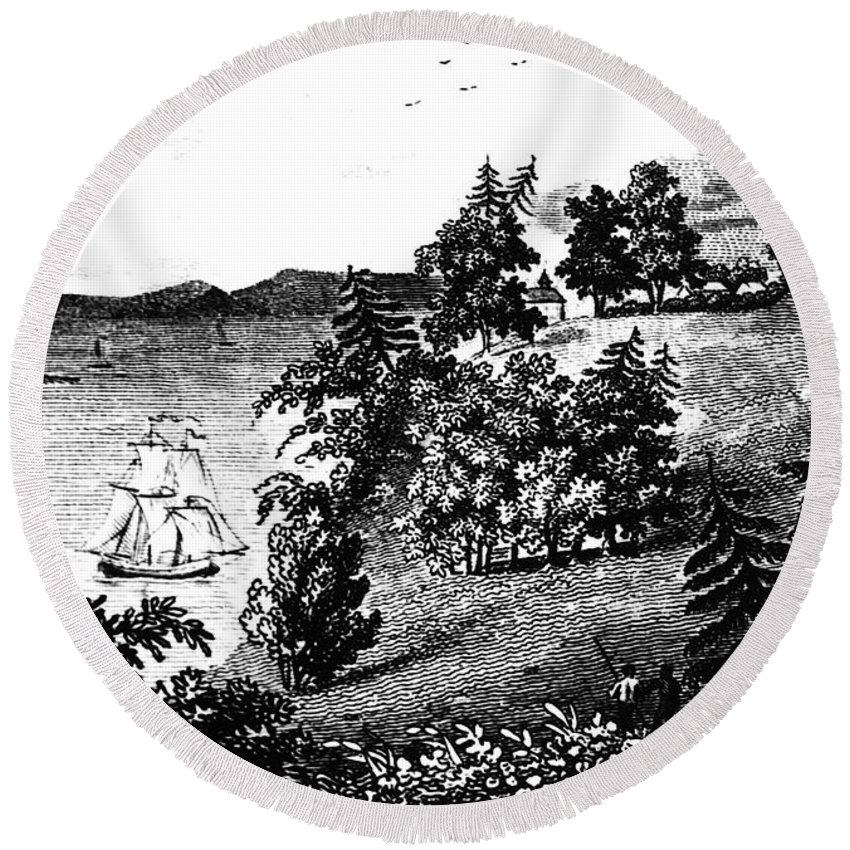 1798 Round Beach Towel featuring the photograph Mount Vernon, 1798 by Granger