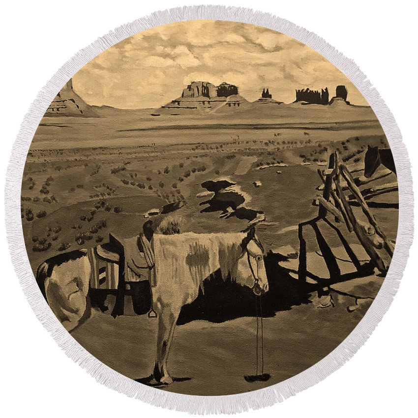 Sepia Prints Round Beach Towel featuring the photograph Navajo Ponies by Rich Walter