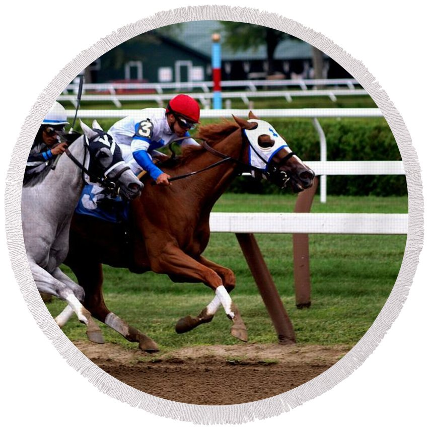 Horse Racing Round Beach Towel featuring the photograph Neck And Neck At Saratoga One by Joshua House