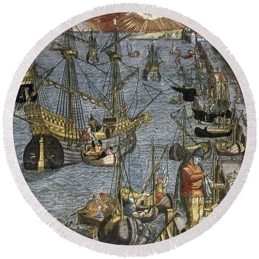 1592 Round Beach Towel featuring the photograph New World: Voyage, 1592 by Granger