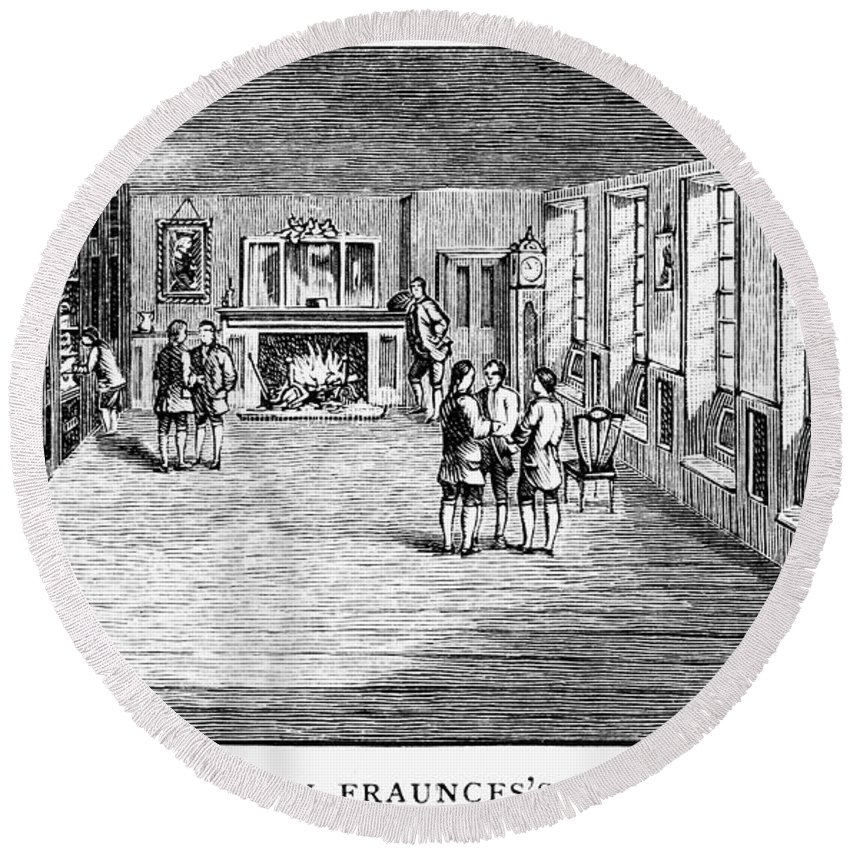 1888 Round Beach Towel featuring the photograph New York: Fraunces Tavern by Granger