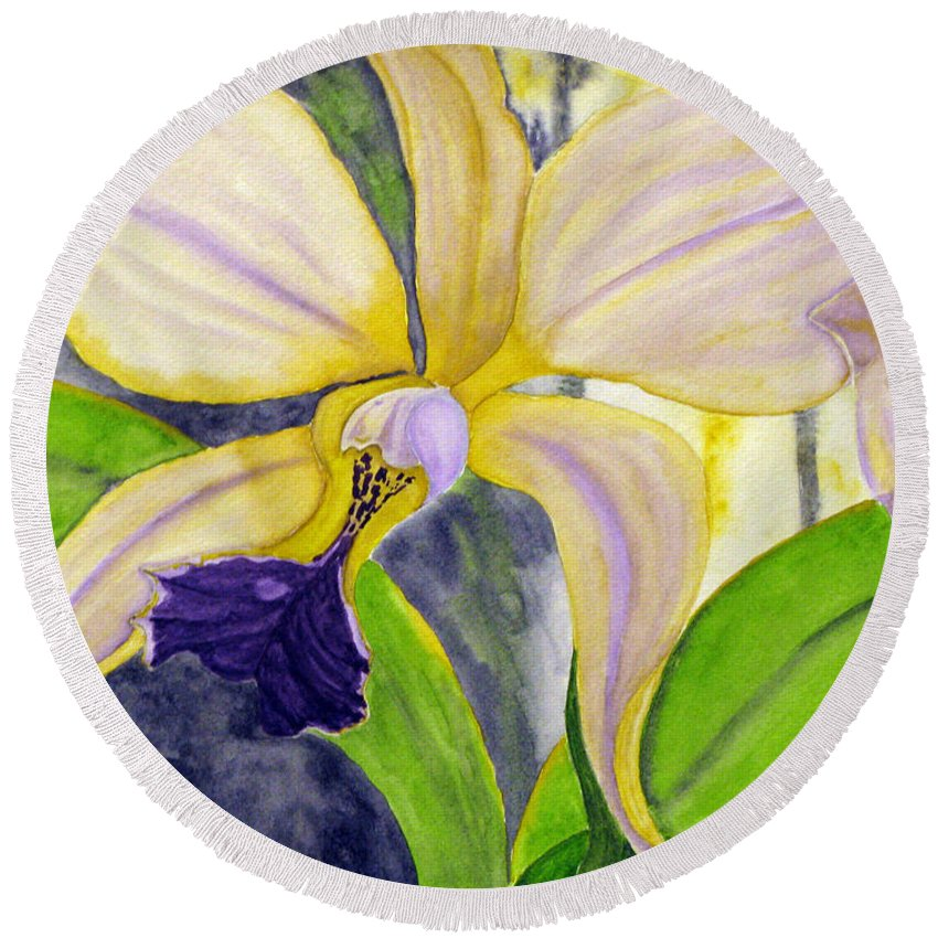 Orchid Round Beach Towel featuring the painting No Ordinary Orchid by Debi Singer