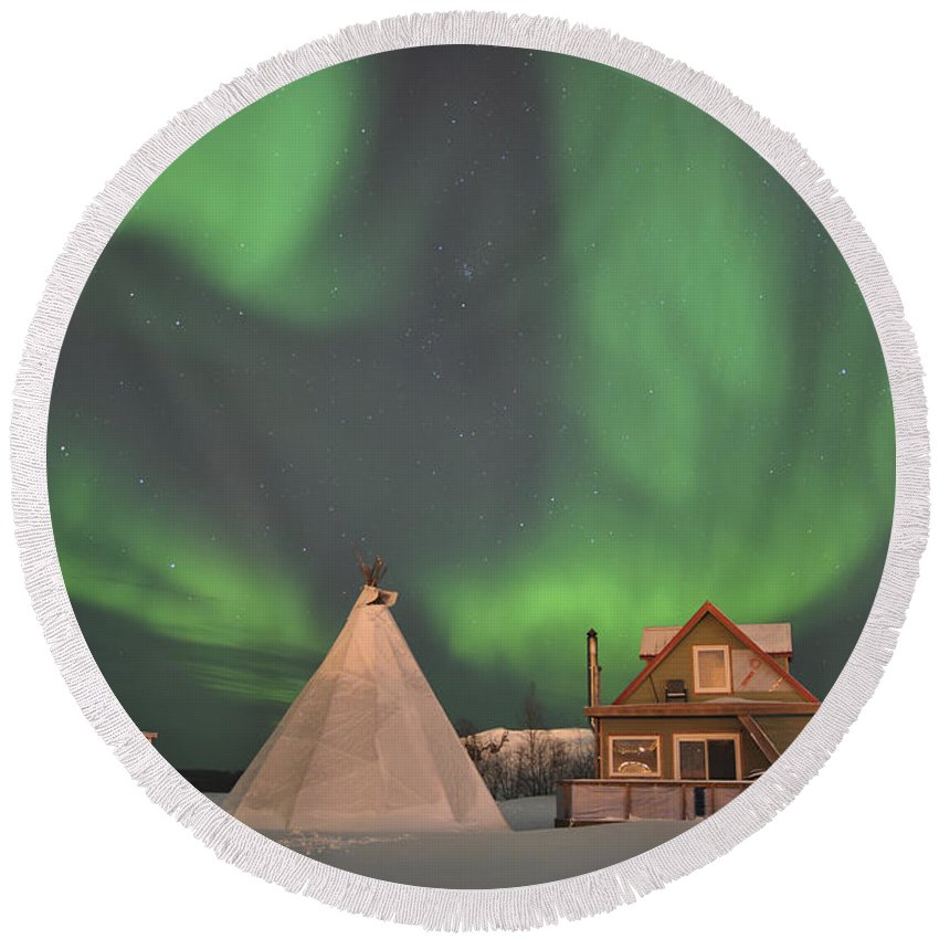 Yellowknife Round Beach Towel featuring the photograph Northern Lights Above Village by Jiri Hermann
