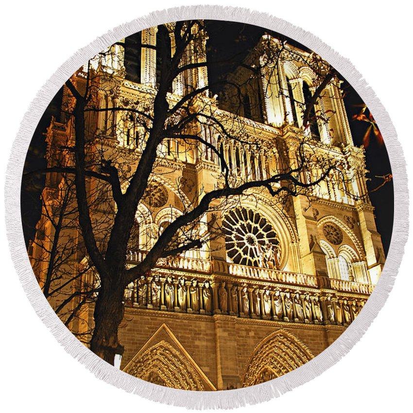 Architecture Round Beach Towel featuring the photograph Notre Dame De Paris by Elena Elisseeva