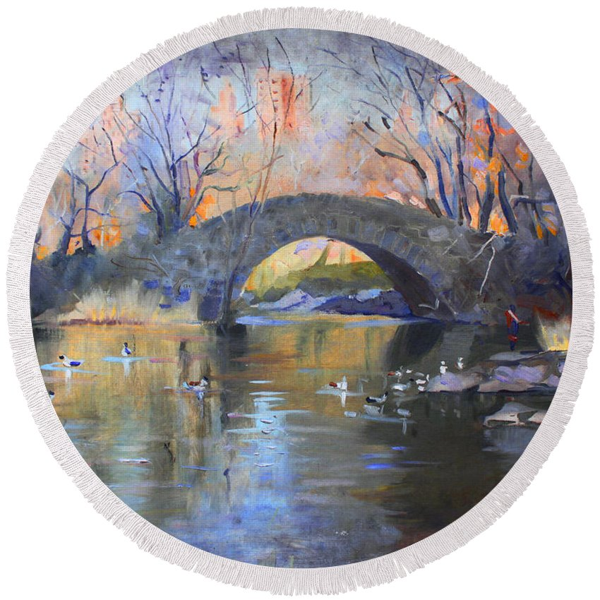 Nyc Round Beach Towel featuring the painting Nyc Central Park by Ylli Haruni