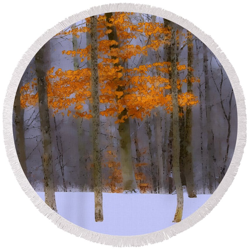 Maple Round Beach Towel featuring the photograph October Flame by Ron Jones