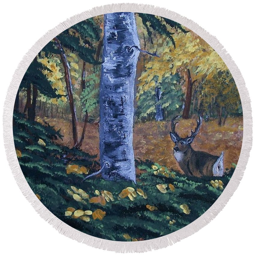 Landscape Round Beach Towel featuring the painting #1 Of A Triptych by Sharon Duguay
