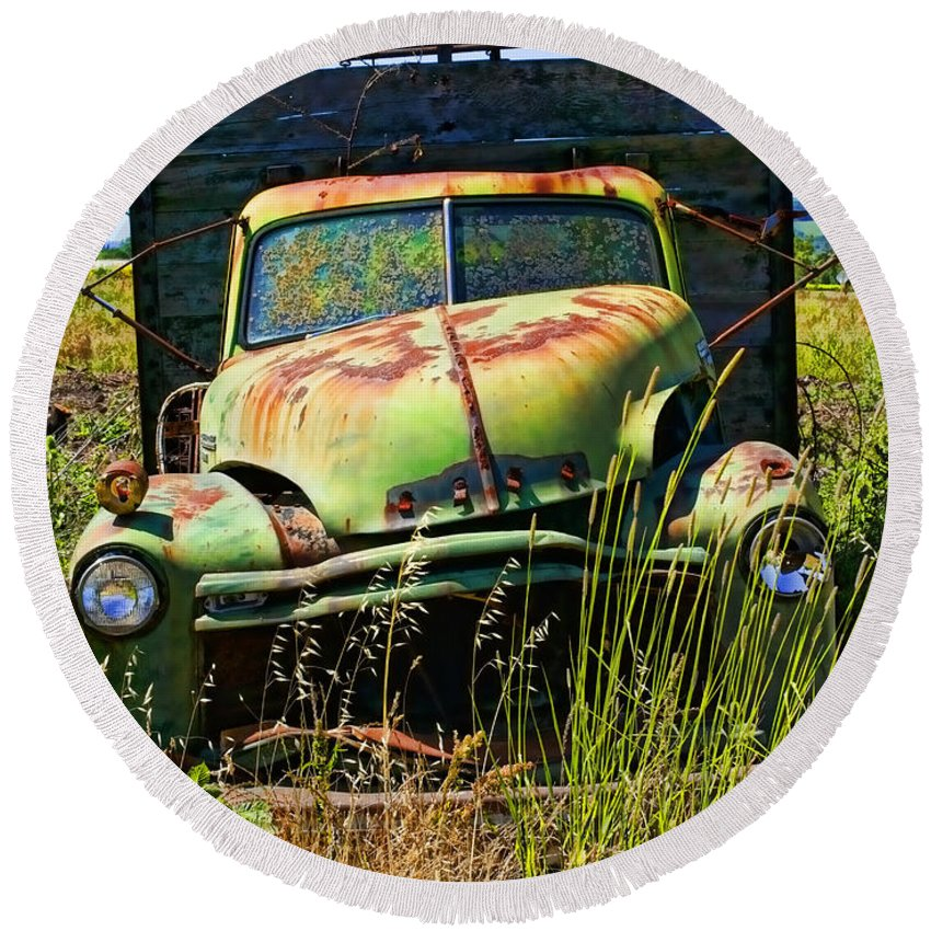 Green Round Beach Towel featuring the photograph Old Green Truck by Garry Gay