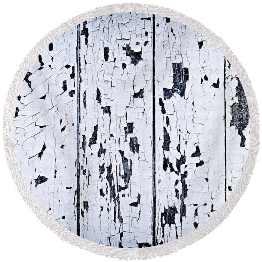 Old Round Beach Towel featuring the photograph Old Painted Wood Abstract by Elena Elisseeva