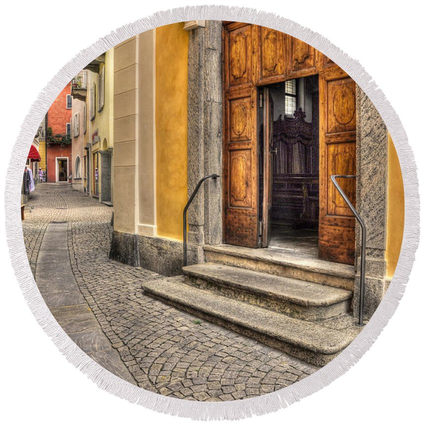 Alley Round Beach Towel featuring the photograph Old Stone Alley by Mats Silvan