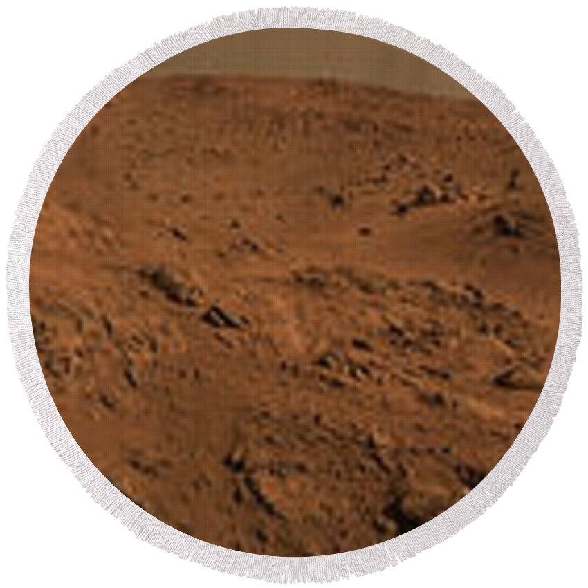 Abyss Round Beach Towel featuring the photograph Panoramic View Of Mars by Stocktrek Images