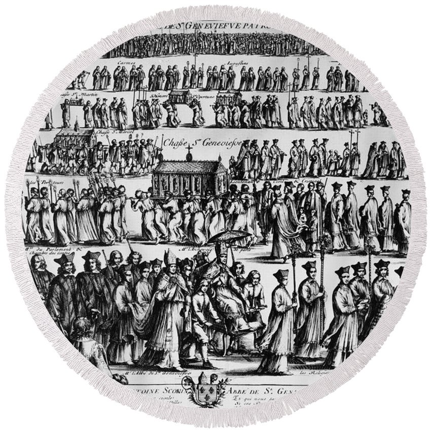 1652 Round Beach Towel featuring the photograph Paris: Catholic Procession by Granger