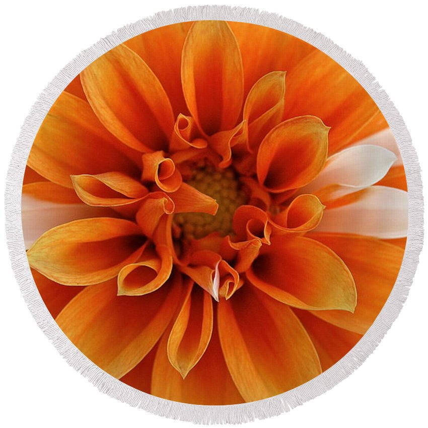 Landscape Round Beach Towel featuring the photograph Peach Petals by Susan Herber