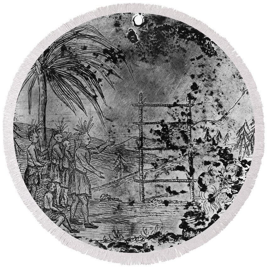 1821 Round Beach Towel featuring the photograph Petalesharro Medal, 1821 by Granger