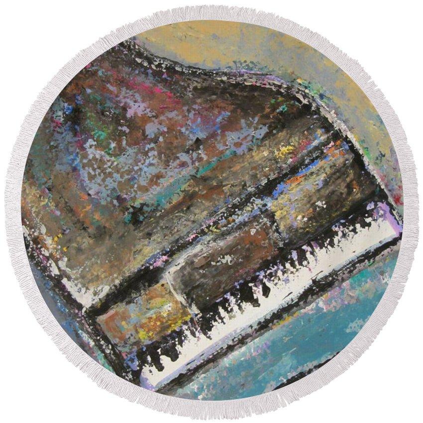 Piano Round Beach Towel featuring the painting Piano Study 8 by Anita Burgermeister