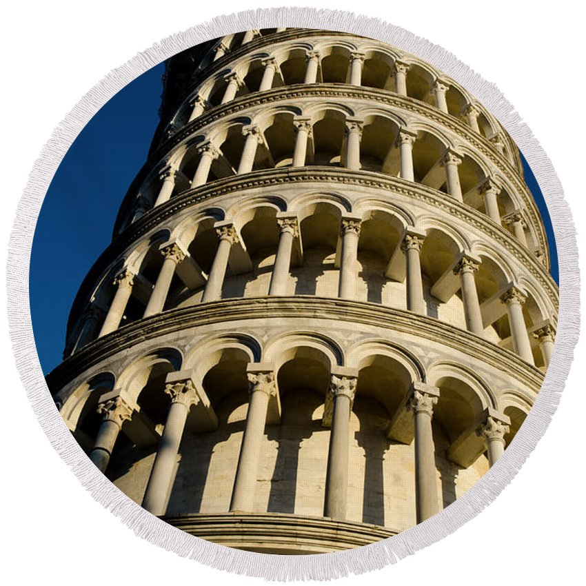 Pisa Round Beach Towel featuring the photograph Pisa Tower by Mats Silvan