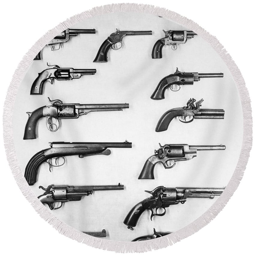 18th Century Round Beach Towel featuring the photograph Pistols And Revolvers by Granger