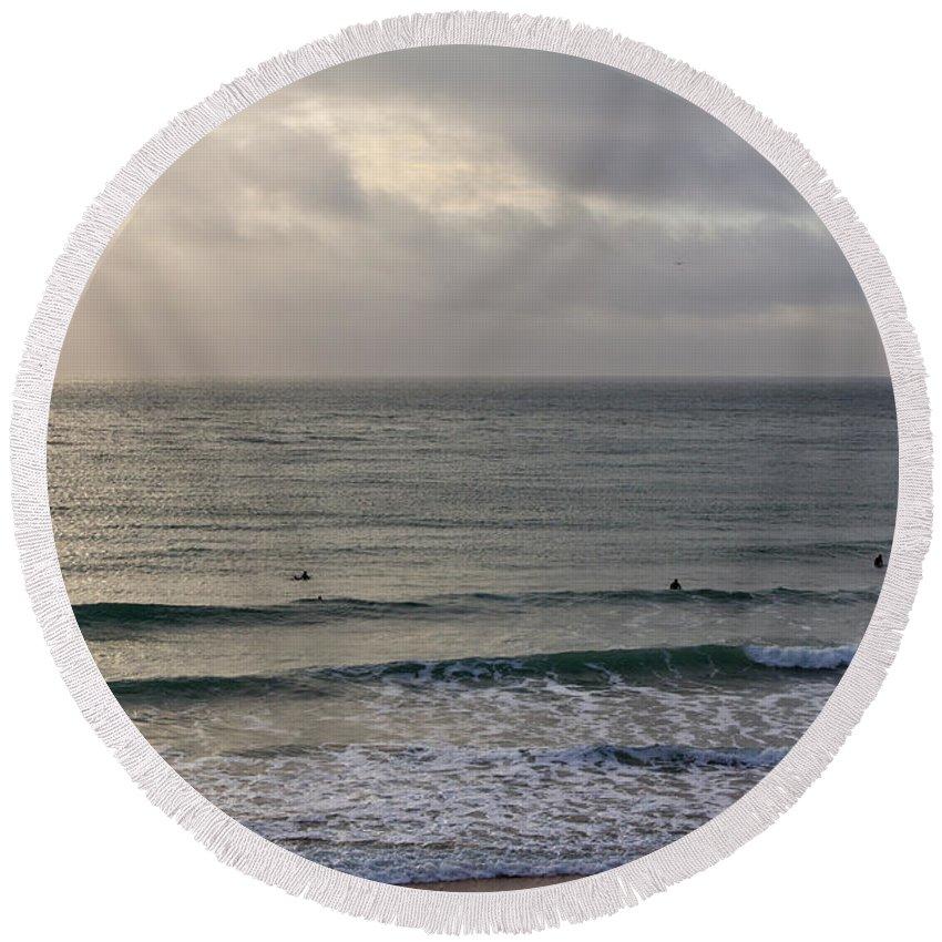 Praa Sands Cornwall Round Beach Towel featuring the photograph Praa Sands by Brian Roscorla