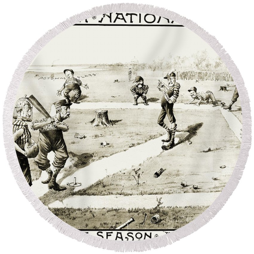 1884 Round Beach Towel featuring the photograph Presidential Campaign, 1884 by Granger