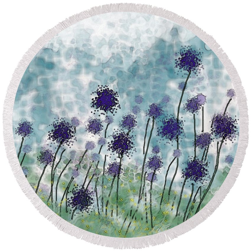 Nature Round Beach Towel featuring the digital art Purple Puffs by Debbie Portwood