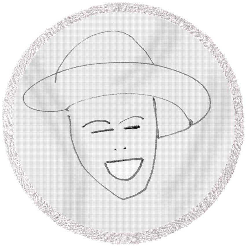 Queen Round Beach Towel featuring the digital art Queen Elizabeth II by Charles Stuart