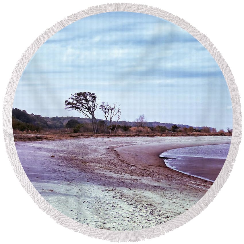 Beach Round Beach Towel featuring the digital art Quiet Cove by Phill Doherty