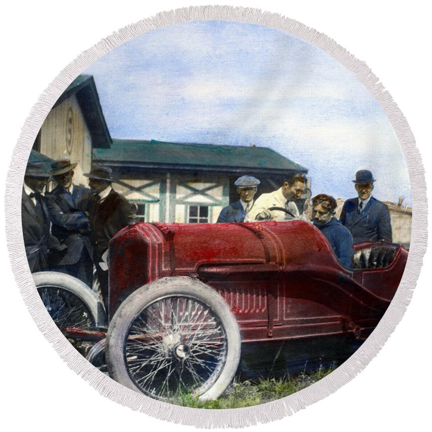 1914 Round Beach Towel featuring the photograph Race Car, 1914 by Granger