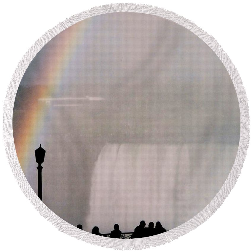 Waterfall Round Beach Towel featuring the photograph Rainbow Falls by Pharris Art