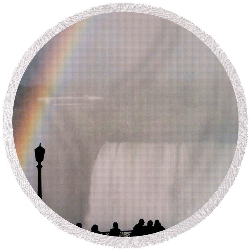 Waterfall Round Beach Towel featuring the photograph Rainbow Falls by Pharris Art