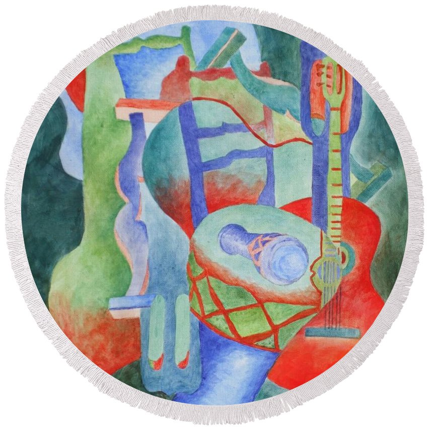 Abstract Round Beach Towel featuring the painting Red Guitar by Claire Gagnon