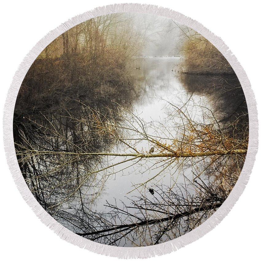 Landscape Round Beach Towel featuring the photograph River In The Fog by Fran Gallogly