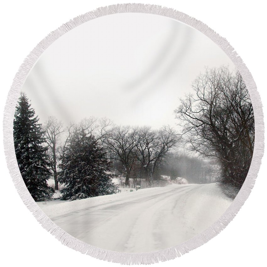Road Round Beach Towel featuring the photograph Rural Road In Winter by Jill Battaglia