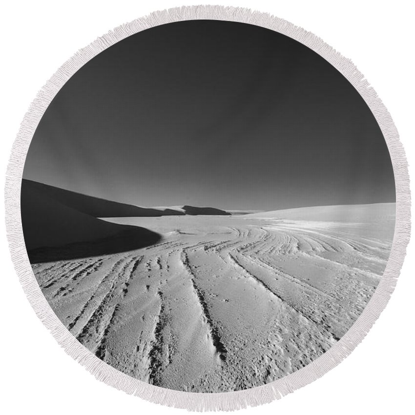 New Mexico Round Beach Towel featuring the photograph Sand Lines by Sean Wray