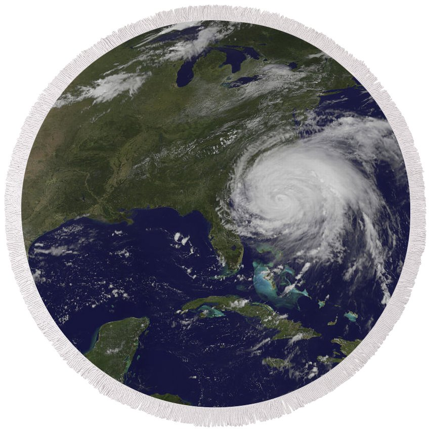 East Coast Round Beach Towel featuring the photograph Satellite View Of Hurricane Irene by Stocktrek Images