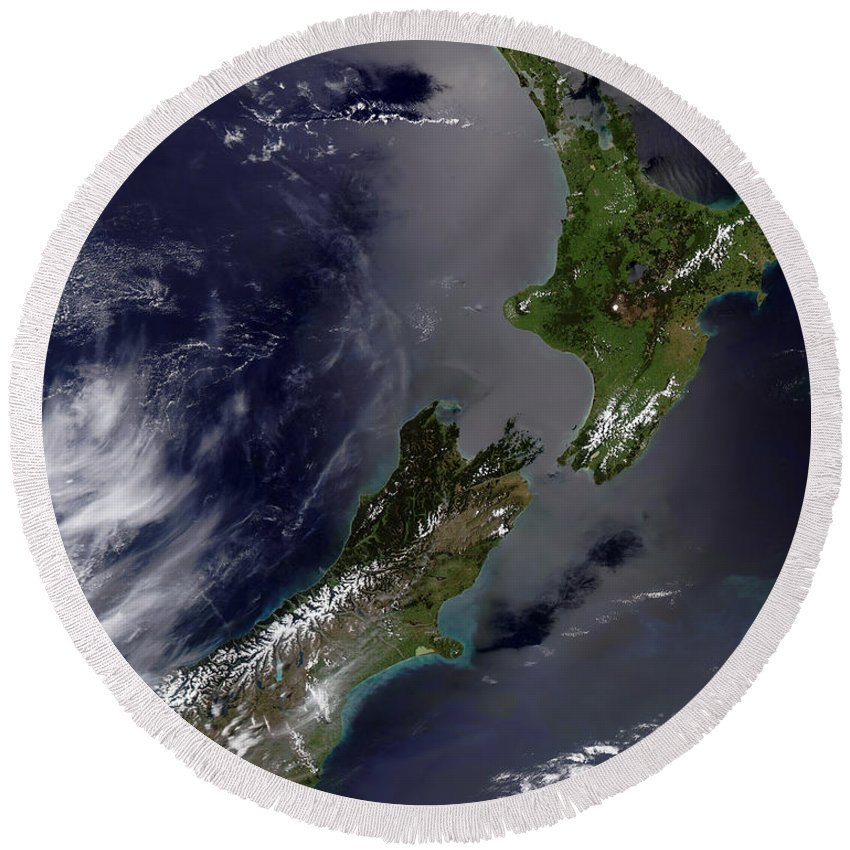 Color Image Round Beach Towel featuring the photograph Satellite View Of New Zealand by Stocktrek Images