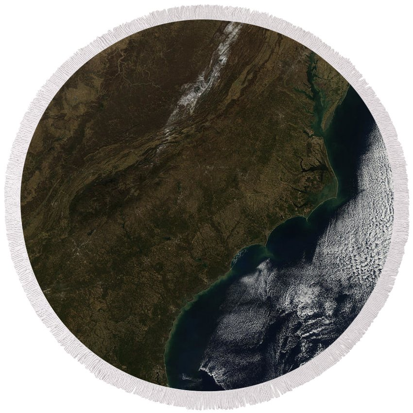 Coast Round Beach Towel featuring the photograph Satellite View Of The Southeastern by Stocktrek Images