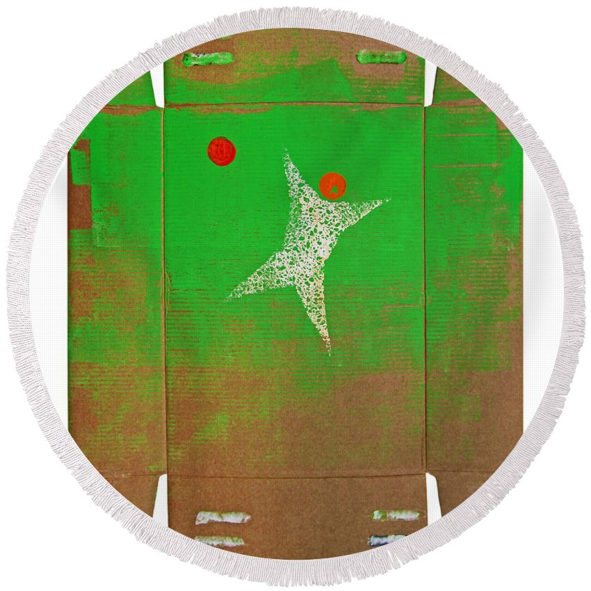 Goal Round Beach Towel featuring the painting Save by Charles Stuart