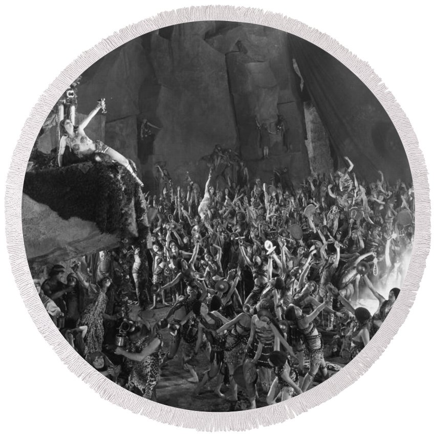 -orgies- Round Beach Towel featuring the photograph Silent Film Still: Orgies by Granger