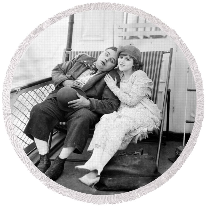 -nec01- Round Beach Towel featuring the photograph Silent Film Still: Ships by Granger