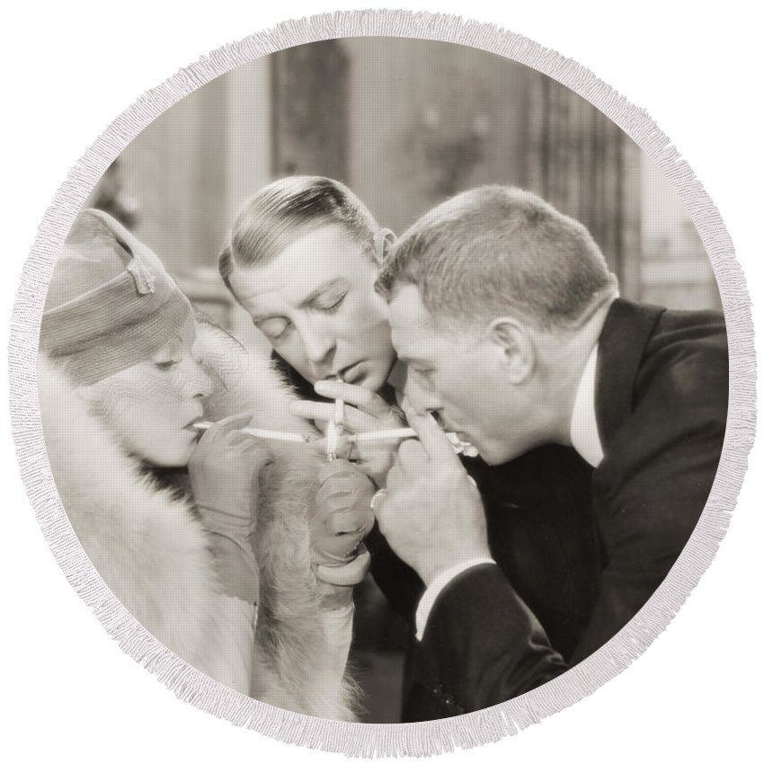 -smoking- Round Beach Towel featuring the photograph Silent Film Still: Smoking by Granger