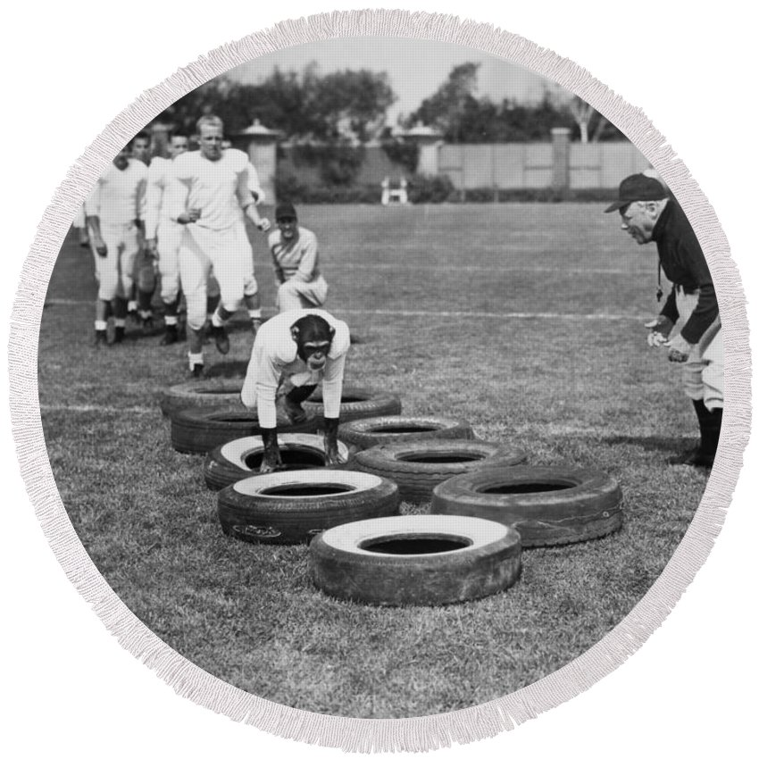 -ec33- Round Beach Towel featuring the photograph Silent Film Still: Sports by Granger