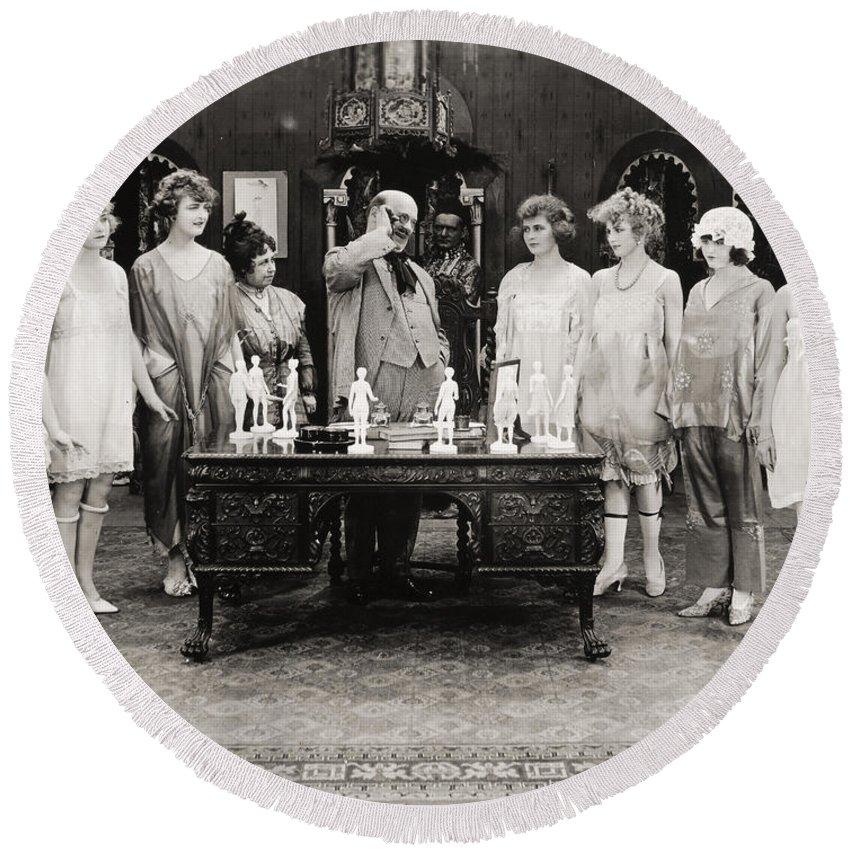 -showgirls- Round Beach Towel featuring the photograph Silent Still: Showgirls by Granger