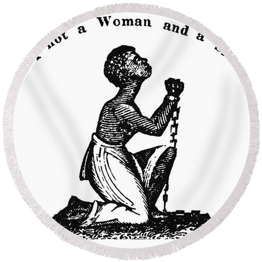 1832 Round Beach Towel featuring the photograph Slavery: Woman, 1832 by Granger